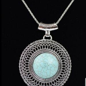 Boho Turquoise Sunburst Necklace